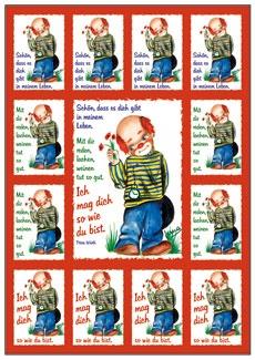 Aufkleber-Gruß-Karten: Schön, dass es dich gibt ... - 4 Stück