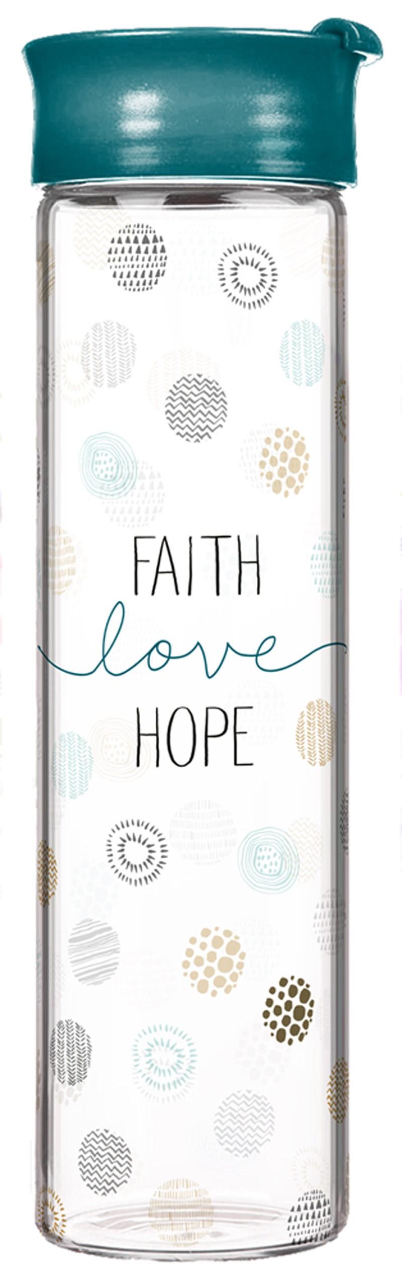 """Glasflasche """"Faith-Love-Hope"""""""