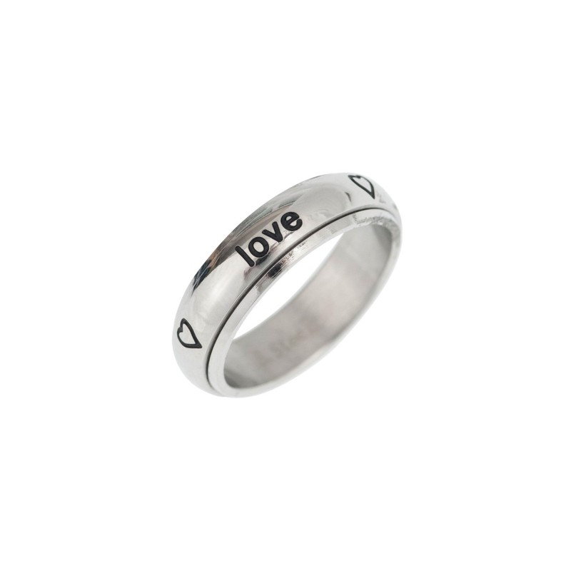 """Spin Ring """"True love waits ... hearts"""" - 17mm"""