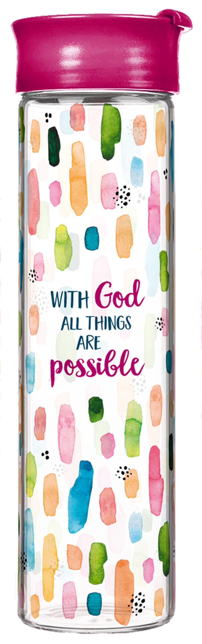"""Glasflasche """"With God all things are possible"""""""