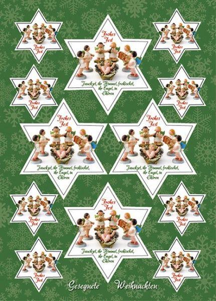 Aufkleber-Gruß-Karten: Jauchzet, ihr Himmel 4 Stück